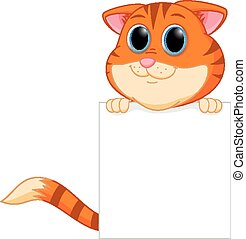 Cute cat cartoon with blank sign - Vector Illustration of...