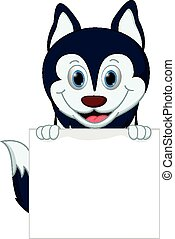 Happy husky dog cartoon - Vector Illustration of Happy husky...
