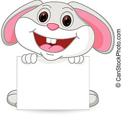 Cute rabbit cartoon with sign