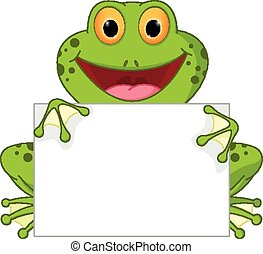 Happy frog cartoon with blank sign