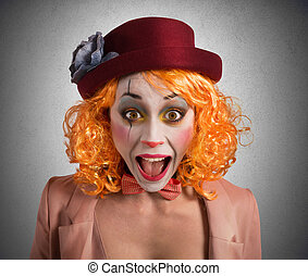 Grimace clown - Clown makes funny faces to make laugh