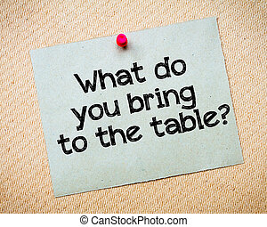 What do you bring to the table? Message. Recycled paper note...