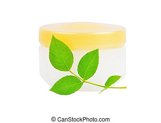 Cream can and green leaf - Cream can and green leaf,...