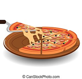 Pizza design - Pizza design over white background, vector...
