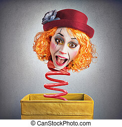 Magic box clown - Strange funny magic box clown with spring
