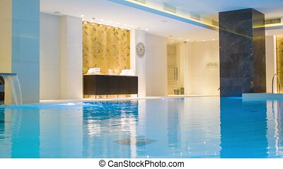 view inside the room with a swimming pool - Indoor swimming...