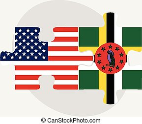 USA and Commonwealth of Dominica Flags in puzzle - Vector...
