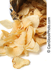 Bag of chips - Bag of kettle chips spilling over on a white...
