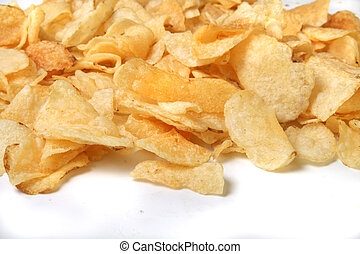 chips - kettle chips spilling over on a white background
