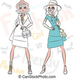 Vector beautiful fashion girls top models - Vector beautiful...