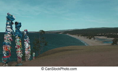 Shaman pillar - Olkhon island on Baikal lake. Shaman pillar.