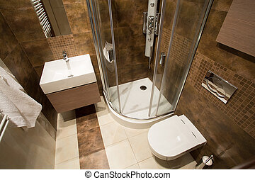 Small bathroom - View from the top of small bathroom with...