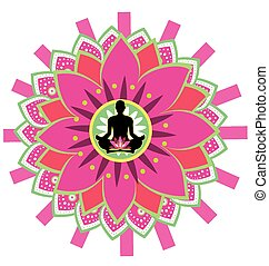 yoga icon - round circle icon for yoga lotus sitting posture...