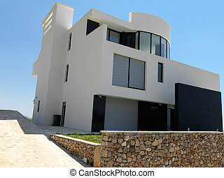 modern house - External view of a contemporary house modern...