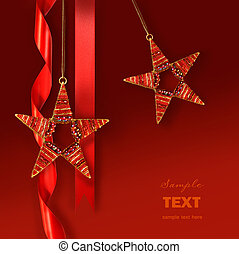 Christmas star ornaments against red background