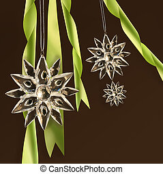 Crystal snowflakes with green ribbons