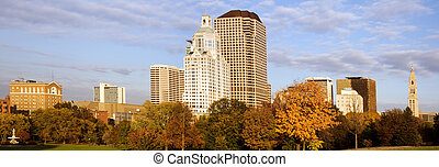 Hartford panorama - Highrise buildings along Bushnell park,...