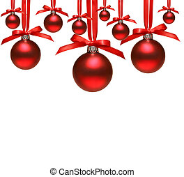 Red christmas balls with bows on white