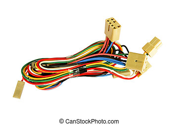 Automotive wiring bundle of wires isolated on white