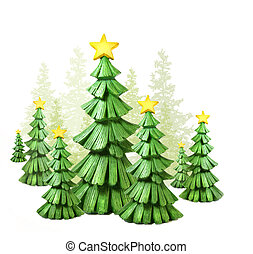 Whimsical Christmas trees against a white background