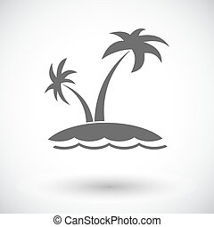 Palm tree. Single flat icon on white background. Vector...
