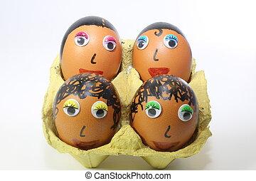 huevos, adornado, con, ojos, y, pelo,
