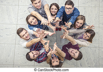 People group - Top view of group of people. Standing...