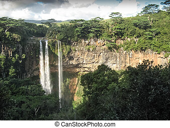 Chamarel Waterfalls - Famous Chamarel waterfalls on tropical...