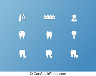 Dental icons on blue background, stock vector