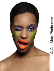 Colorful Beauty - African model with colorful makeup.