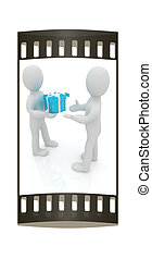 3d man gives gift The film strip - 3d man gives gift on a...