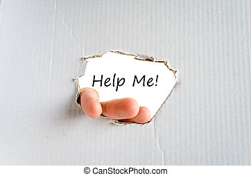 Help me - Hand and text on the cardboard background and...