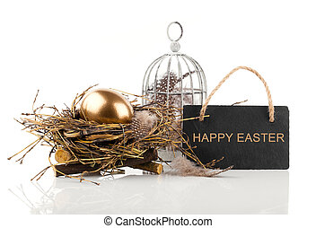 golden egg in nest with blackboard with space for text, on...