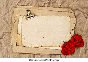 old blank paper and two rose flowers grunge vintage...