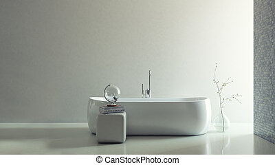 3D Render of Minimalistic Bathroom