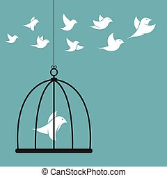 Vector image of a bird in the cage and outside the cage...