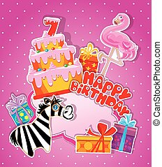 Baby birthday card with flamingo and zebra, big cake and gift bo