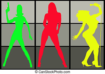 Three sexy colored women silhouette on grey background