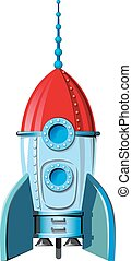space rocket - comic space rocket standing at the start
