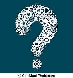 Question mark with cog wheels - Abstract vector white...