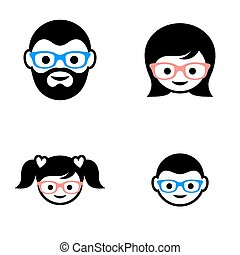 Family member faces - Black vector family members faces...
