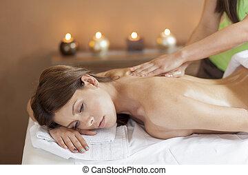 Massage - Pretty young women having a massage