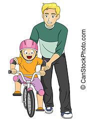 Bike Lesson Girl - Illustration of a Father Teaching His...
