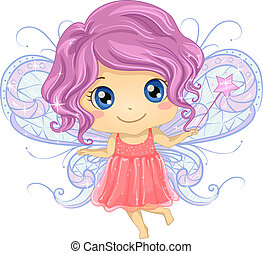 Kid Girl Fairy - Illustration of a Cute Little Girl Dressed...