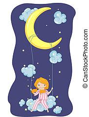 Girl Moon Swing