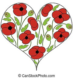 Poppy seeds flowers in the heart shape