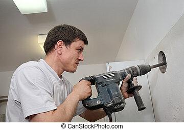 Demoler, eléctrico, pared, sitio, construcción,  plugger