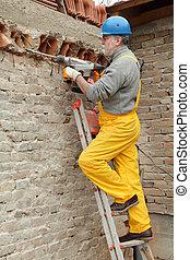 edificio, plugge, Demoler, eléctrico, sitio, construcción,...