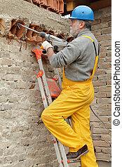 construcción, sitio, viejo, edificio, Demoler, con,...