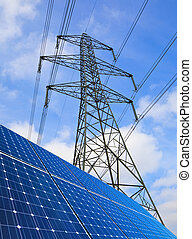 Solar Panels And Pylon - Solar panels and electricity pylon...